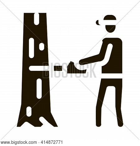 Tree Felling Worker Glyph Icon Vector. Tree Felling Worker Sign. Isolated Symbol Illustration
