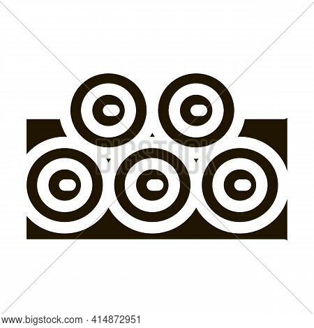 Tree Trunk Pile Glyph Icon Vector. Tree Trunk Pile Sign. Isolated Symbol Illustration