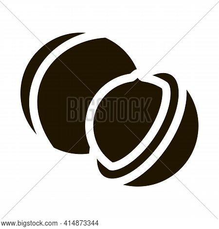 Macadamia Nut Glyph Icon Vector. Macadamia Nut Sign. Isolated Symbol Illustration