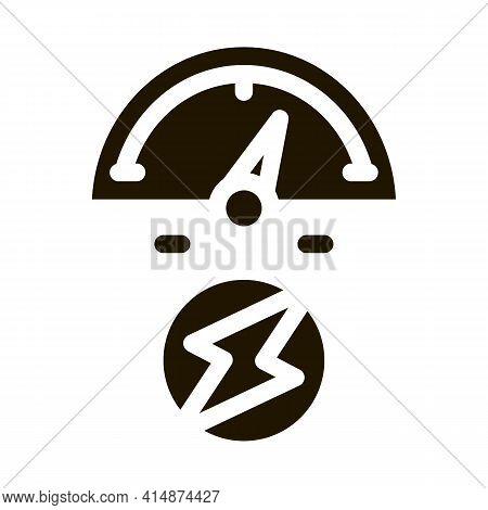 Electro Car Charge Sensor Glyph Icon Vector. Electro Car Charge Sensor Sign. Isolated Symbol Illustr
