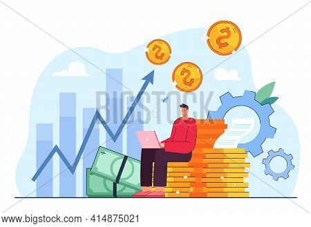 Cartoon Metaphor Of Investment Profits Vector Illustration. Employee, Investor Or Businessman Workin