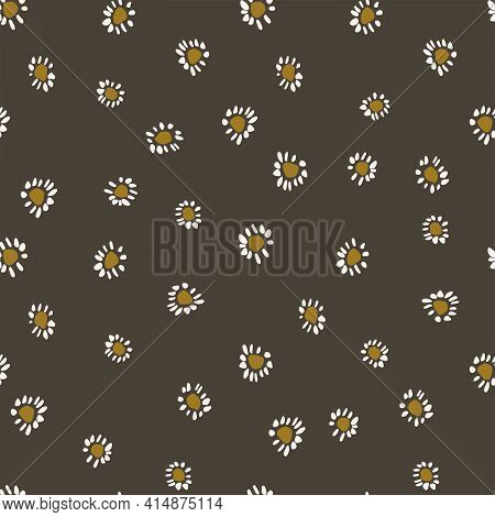 Daisy Love Floral Seamless Vector Pattern. Tiny Little Daisies In White And Yellow Over A Black Back