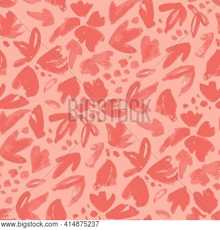 Abstract Flowerbed Seamless Vector Pattern. Painted Abstract Flower And Leaf Elements Forming A Flow