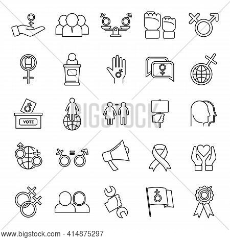 Empowerment Girl Icons Set. Outline Set Of Empowerment Girl Vector Icons For Web Design Isolated On