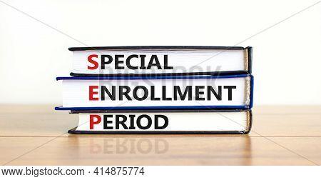 Sep, Special Enrollment Period Symbol. Books With Words 'sep, Special Enrollment Period'. Beautiful