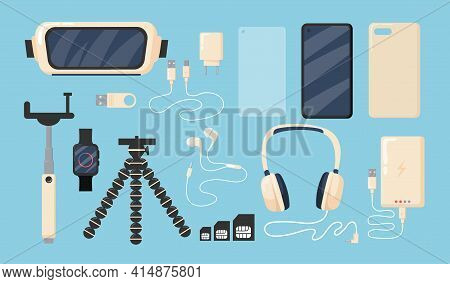 Set Of Graphic Phone Accessories Flat Vector Illustration. Isolated Smartphone, Battery, Charger, Co