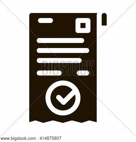 Payment Receipt Glyph Icon Vector. Payment Receipt Sign. Isolated Symbol Illustration