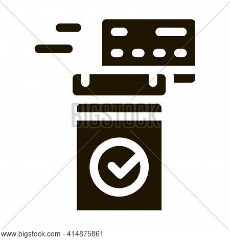 Pos Terminal Approved Card Glyph Icon Vector. Pos Terminal Approved Card Sign. Isolated Symbol Illus