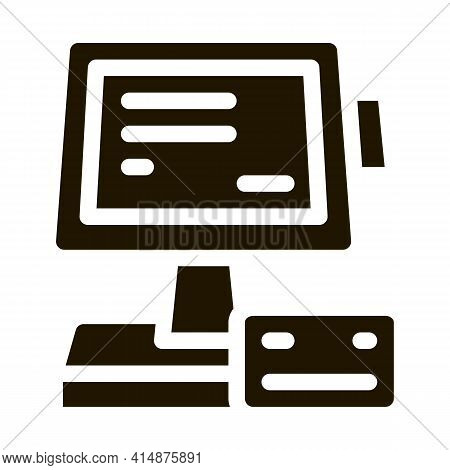 Pos Terminal Display And Card Glyph Icon Vector. Pos Terminal Display And Card Sign. Isolated Symbol