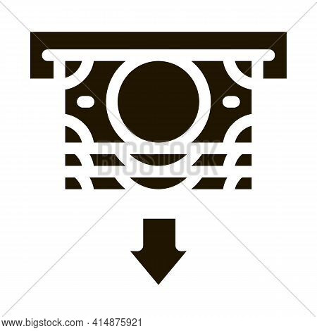 Receiving Money From Atm Glyph Icon Vector. Receiving Money From Atm Sign. Isolated Symbol Illustrat