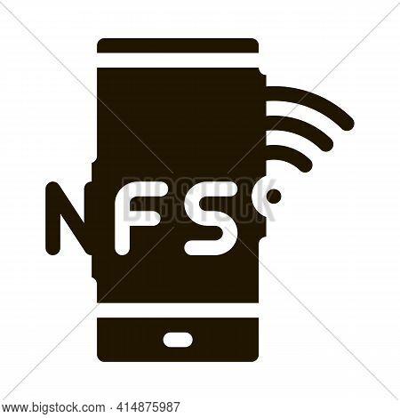 Smartphone Nfc Payment App Glyph Icon Vector. Smartphone Nfc Payment App Sign. Isolated Symbol Illus