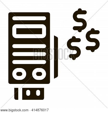 Pos Terminal Payment Glyph Icon Vector. Pos Terminal Payment Sign. Isolated Symbol Illustration