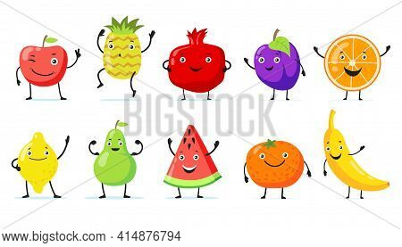 Set Of Happy Fruit Cartoon Characters Flat Vector Illustration. Vintage Funny Poster Design With Tro