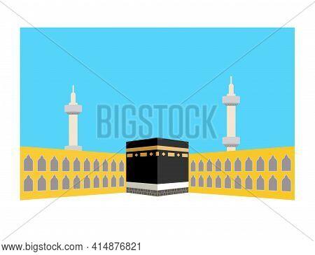 The Holy Kaaba In Mecca, Saudi Arabia. Pilgrimage Hajj, Ramadan Kareem. Flat Style Design.