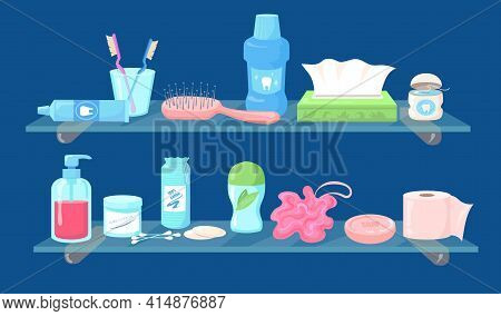 Set Of Cartoon Hygiene Care Products Flat Vector Illustration. Collection Of Toiletries, Household S