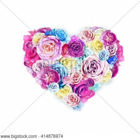 Happy Mothers Day. Bouquet Of Colorful Assorted Roses In Heart Shape On White Background