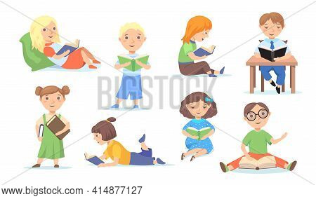 Set Of Reading Or Studying Children At School, Home. Cartoon Flat Vector Illustration. Young, Clever