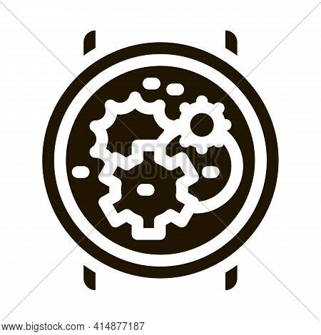 Watch Mechanism Gears Glyph Icon Vector. Watch Mechanism Gears Sign. Isolated Symbol Illustration