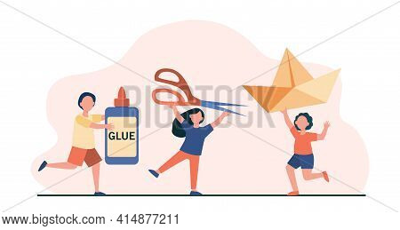 Happy Tiny Kids With Tools For Artistic Work. Glue, Scissors, Paper Flat Vector Illustration. Hobby