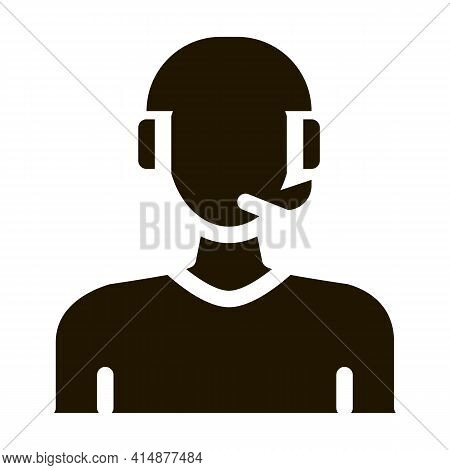Webshop Call Center Operator Glyph Icon Vector. Webshop Call Center Operator Sign. Isolated Symbol I