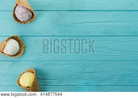 Ice Cream Cones Different Flavors. High Quality And Resolution Beautiful Photo Concept