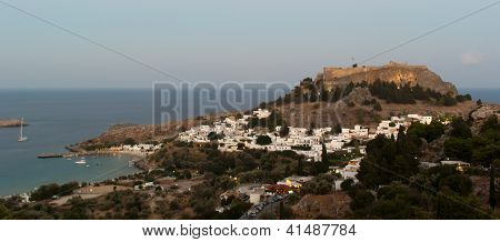 Lindos Acropolis In The Evening With Lights