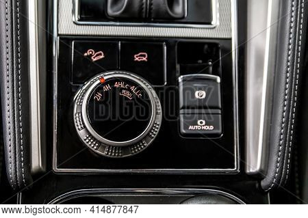 Control Panel For Off-road Functions. Suv Driving Mode Switch. Management Of Interlocks, Drive And L