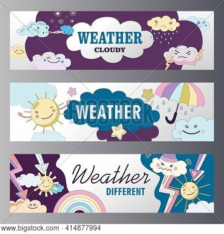 Weather Banners Set Cartoon Vector Illustration. Different Weather Themes Banners. Cloudy, Sunny, Ra