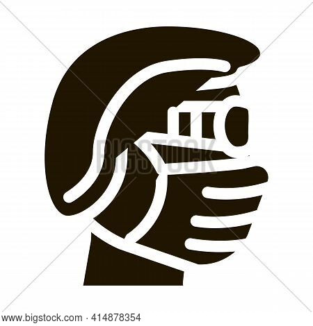Surgeon Wearing Protection Hat Mask Glasses Glyph Icon Vector. Surgeon Wearing Protection Hat Mask G