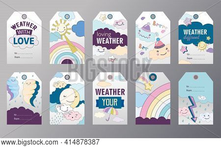 Set Of Weather Tags Cartoon Vector Illustration. Different Weather Themes Tags. Cloudy, Sunny, Rainy