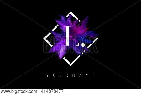 L Letter Logo Design With Colorful Ink Stroke Over White Square Frame. Creative Vector Illustration
