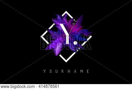 Y Letter Logo Design With Colorful Ink Stroke Over White Square Frame. Creative Vector Illustration