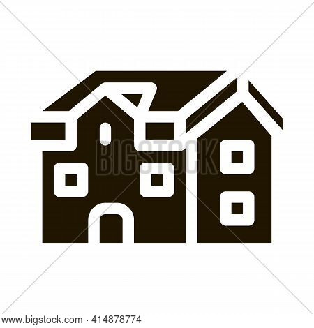 House Roof Type Glyph Icon Vector. House Roof Type Sign. Isolated Symbol Illustration