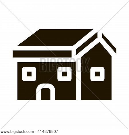 Building Fixed Roof Glyph Icon Vector. Building Fixed Roof Sign. Isolated Symbol Illustration
