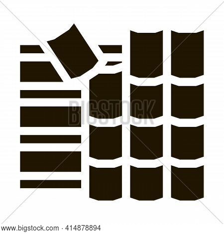 Roof Ceramic Tile Glyph Icon Vector. Roof Ceramic Tile Sign. Isolated Symbol Illustration