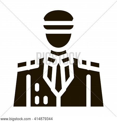 Captain Profession Glyph Icon Vector. Captain Profession Sign. Isolated Symbol Illustration