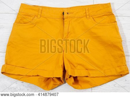 Orange Shorts Close Up Top View Shorts Background