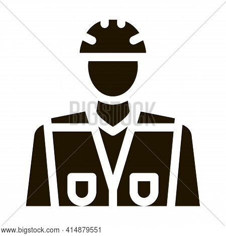 Builder Profession Glyph Icon Vector. Builder Profession Sign. Isolated Symbol Illustration