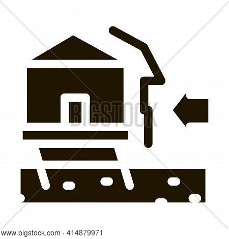 House Demolishes With Wind Glyph Icon Vector. House Demolishes With Wind Sign. Isolated Symbol Illus