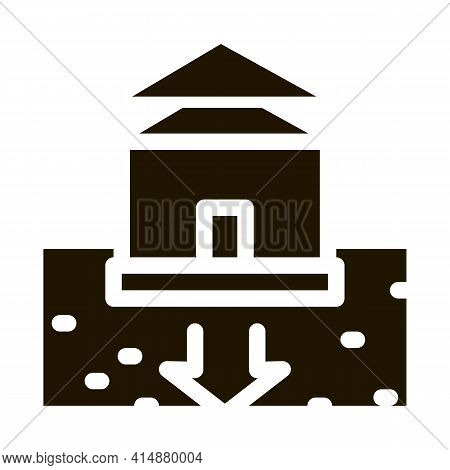 House Foundation Sags Glyph Icon Vector. House Foundation Sags Sign. Isolated Symbol Illustration