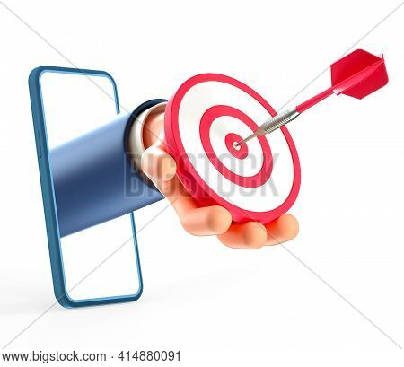3d Illustration Of Businessman Hand Through Smartphone Screen, Holding A Modern Target With Dart In