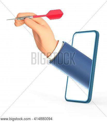 3d Illustration Of Cartoon Businessman Hand Holding A Dart Hitting The Target Through Smartphone Scr
