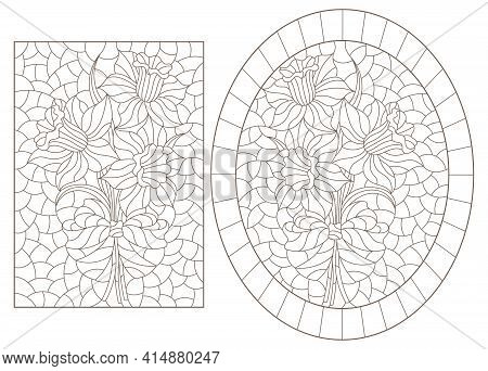 Set Of Contour Illustrations In Stained Glass Style With Bouquets Of Daffodils , Dark Outlines On A
