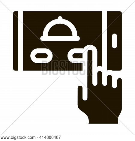 Food Delivery Phone App Glyph Icon Vector. Food Delivery Phone App Sign. Isolated Symbol Illustratio