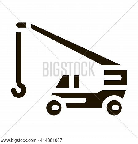 Machinery Crane Glyph Icon Vector. Machinery Crane Sign. Isolated Symbol Illustration
