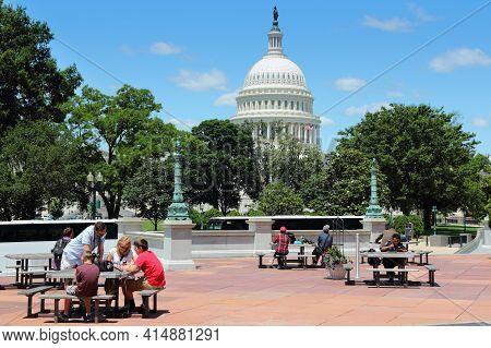 Washington Dc, Usa - June 13, 2013: People Walk By Us National Capitol In Washington Dc. 18.9 Millio