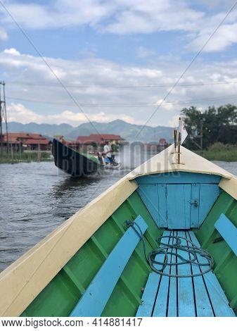 Inle Lake, Myanmar - November 9, 2019: Boat Navigating Through Floating Gardens In Inle Lake