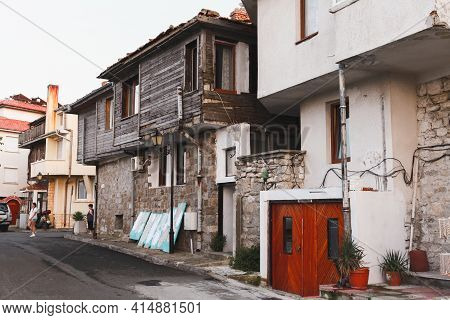 Nessebar, Bulgaria - July 20, 2014: Street View Of Nesebar Old Town With Wooden Living Houses Standi