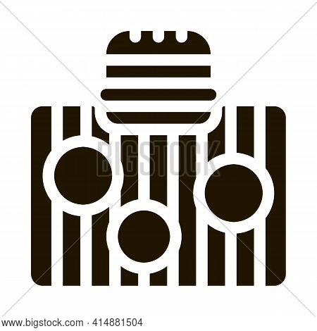 Bbq Meat For Burger Glyph Icon Vector. Bbq Meat For Burger Sign. Isolated Symbol Illustration