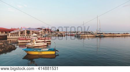 Nessebar, Bulgaria - July 20, 2014: Nesebar Old Port View With Colorful Fishing Boats